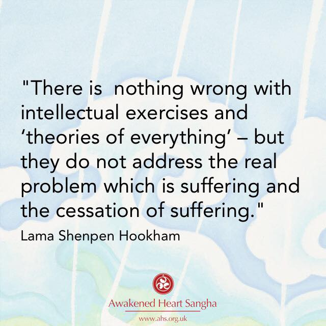 Theories of everything are OK but they do not address suffering, Buddhist quote from Lama Shenpen